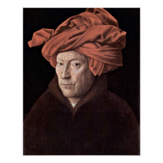 El hombre con el turbante en enero van Eyck Posters