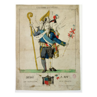 El hombre con seis caricaturas de Heads', de Postal