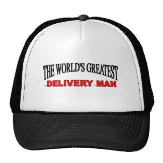 El hombre de la entrega más grande del mundo gorras