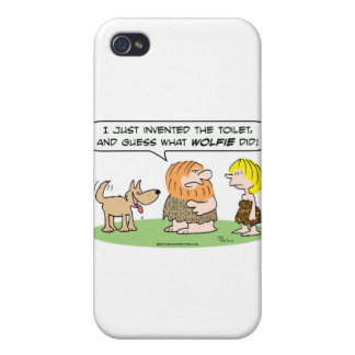 el hombre de las cavernas inventa el wolfie del lo iPhone 4 carcasas