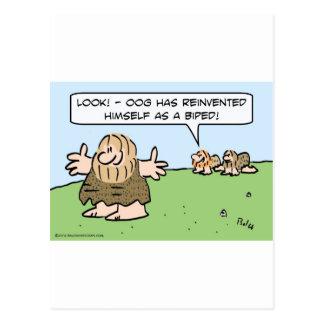 El hombre de las cavernas se reinventa como biped. tarjeta postal
