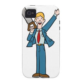 El hombre de negocios con vio iPhone 4/4S carcasas