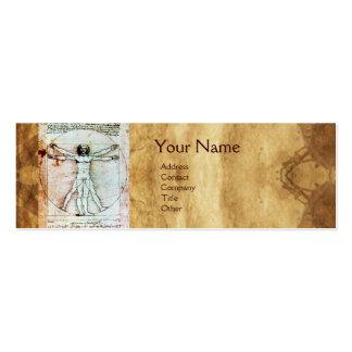 El HOMBRE de VITRUVIAN, pergamino antiguo de Brown Plantilla De Tarjeta De Negocio