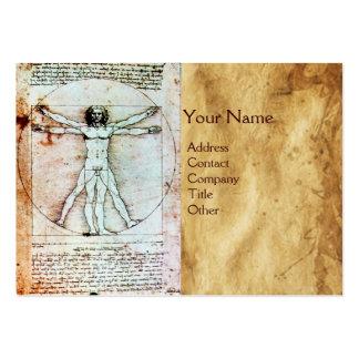 El HOMBRE de VITRUVIAN, pergamino antiguo de Brown Tarjeta De Negocio