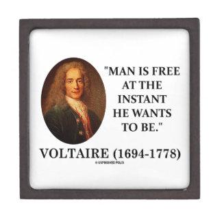El hombre de Voltaire está libre en instante que Caja De Recuerdo De Calidad