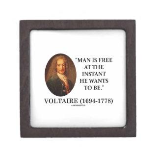 El hombre de Voltaire está libre en instante que Cajas De Recuerdo De Calidad