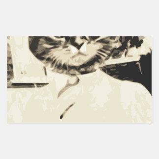 El hombre del gato hace pegatina rectangular