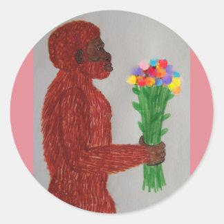 El hombre del Neanderthal florece amor Pegatinas Redondas