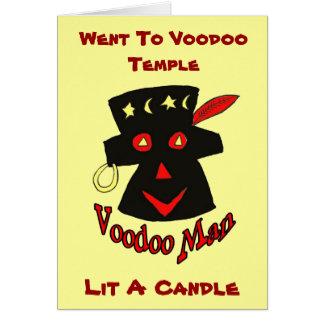 El hombre del vudú, fue a voodoo el templo, tarjeta de felicitación