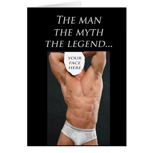 El hombre, el mito, la plantilla de la leyenda tarjetas