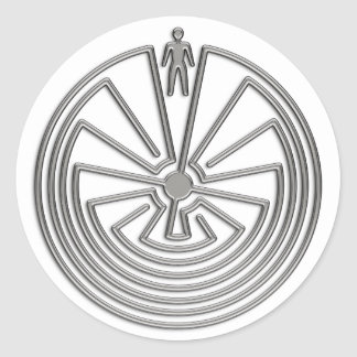 El hombre en el laberinto - plata pegatina redonda
