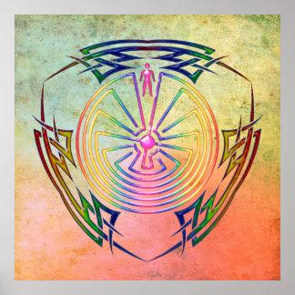 El hombre en el laberinto - tatuaje tribal colorea póster