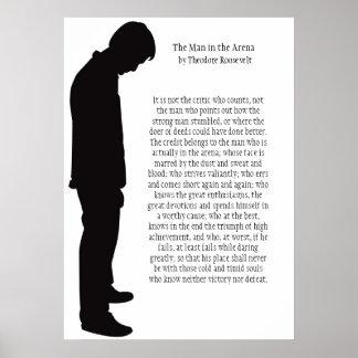 El hombre en la arena (negro en blanco) 20 x 28 póster