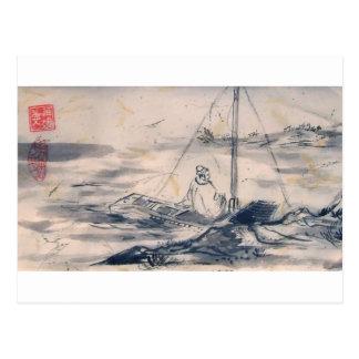 El hombre en un blanco del barco confina la postal