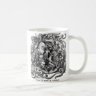 El hombre es solamente un gusano taza de café