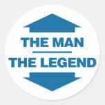 El hombre la leyenda - azul pegatinas redondas