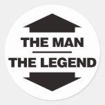 El hombre la leyenda - negro etiqueta redonda