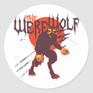 El hombre lobo Lycan Etiquetas Redondas