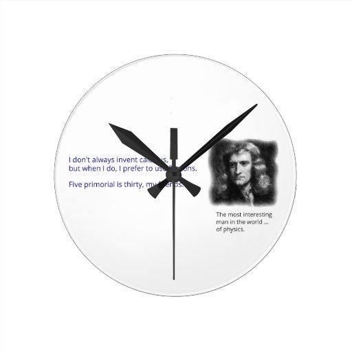 El hombre más interesante del mundo de la física reloj redondo mediano
