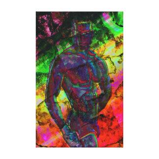 El hombre muscular saca el arte masculino moderno  impresiones en lona estiradas