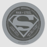 El hombre original de acero etiquetas redondas
