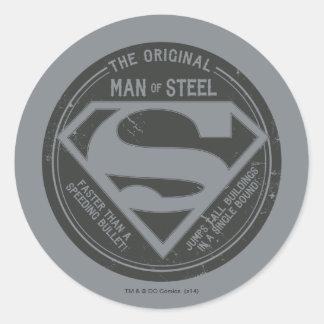 El hombre original de acero pegatina redonda