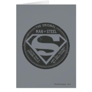 El hombre original de acero tarjeta de felicitación