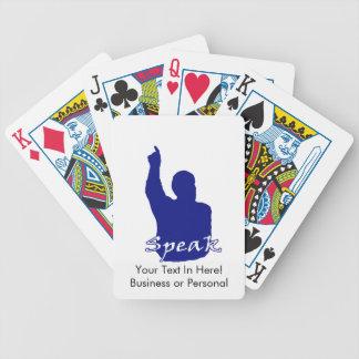 el hombre que señala encima de sombra habla blanco barajas de cartas