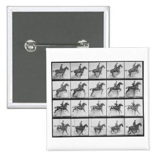 El hombre y el caballo que saltan una cerca, plate pin cuadrado