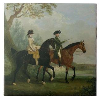 El Hon. Montar a caballo de Marcia Pitt con su Bro Azulejo Cuadrado Grande
