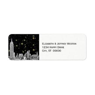 El horizonte 01 de NYC grabó al agua fuerte la Etiquetas De Remite