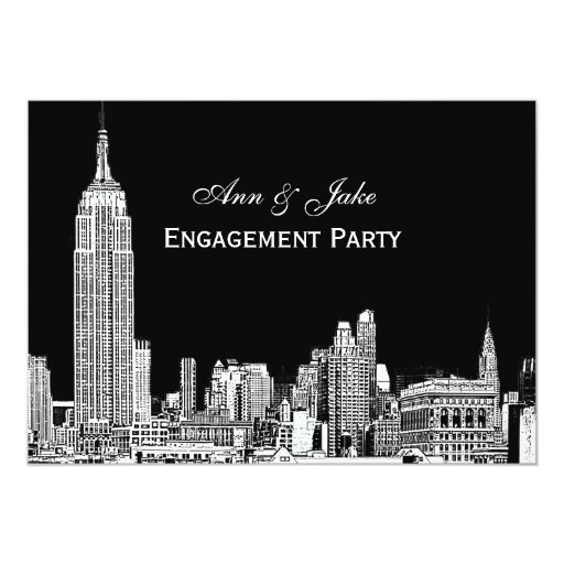 """El horizonte 01 Etchd DIY BG de NYC colorea el Invitación 5"""" X 7"""""""