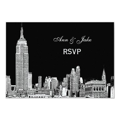 El horizonte 01 Etchd DIY BG de NYC colorea RSVP Invitación 8,9 X 12,7 Cm