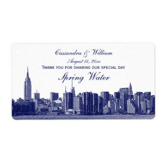 El horizonte amplio azul de NYC grabó al agua Etiqueta De Envío