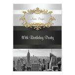 El horizonte BW 05 de NYC blanco, cumpleaños negro Invitaciones Personales
