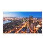 El horizonte de Boston en la oscuridad Impresiones En Lona