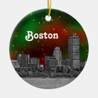 El horizonte de Boston grabó al agua fuerte Adorno Navideño Redondo De Cerámica