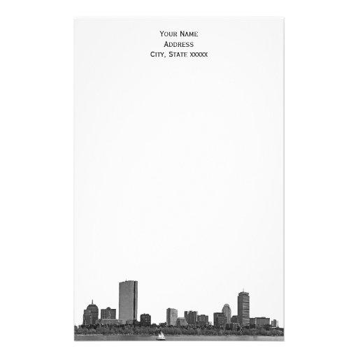 El horizonte de Boston grabó al agua fuerte los Papeleria De Diseño