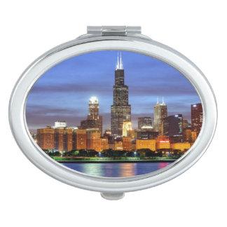 El horizonte de Chicago del planetario de Adler Espejo Para El Bolso