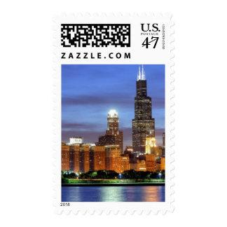El horizonte de Chicago del planetario de Adler Estampillas