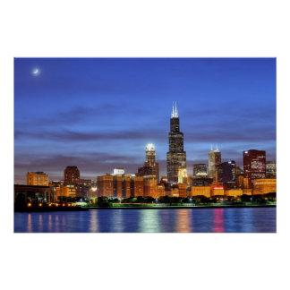 El horizonte de Chicago del planetario de Adler Perfect Poster