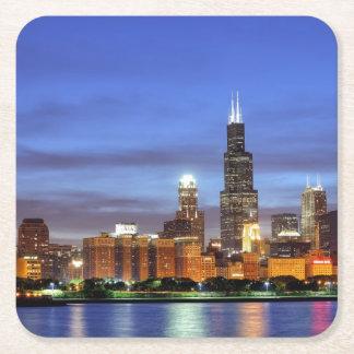 El horizonte de Chicago del planetario de Adler Posavasos Desechable Cuadrado