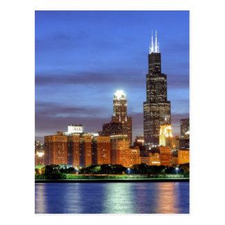 El horizonte de Chicago del planetario de Adler Tarjetas Postales