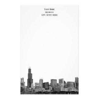 El horizonte de Chicago grabó al agua fuerte los Papelería Personalizada