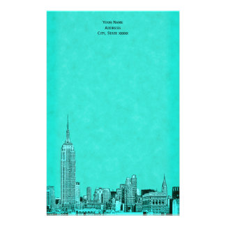 El horizonte de la aguamarina NYC grabó al agua Papeleria Personalizada