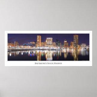 El horizonte de la ciudad de Baltimore chispea en Poster