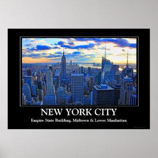 El horizonte de la última hora de la tarde NYC com Posters