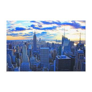 El horizonte de la última hora de la tarde NYC Impresion En Lona