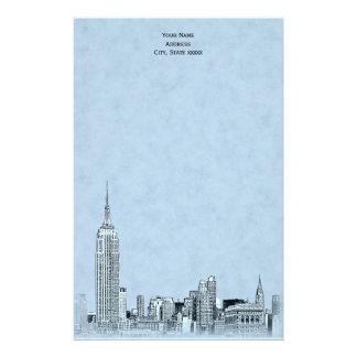 El horizonte de Lt Blue NYC grabó al agua fuerte Papeleria De Diseño