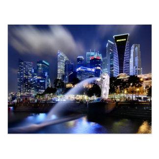 El horizonte de Merlion y de Singapur Postales